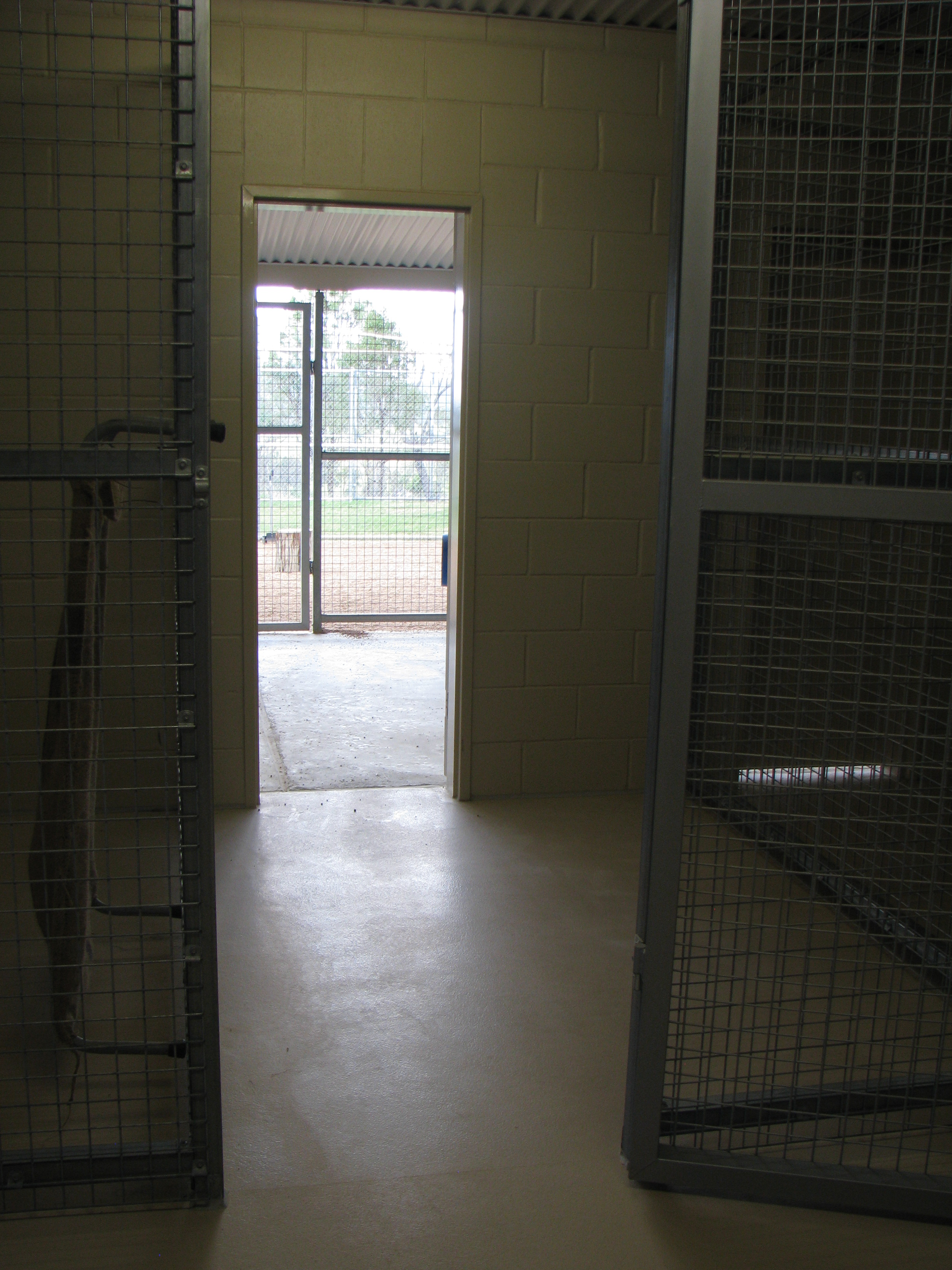 There is an internal kennel and external kennel